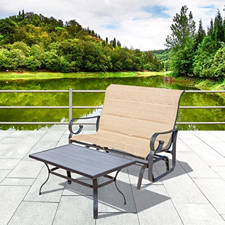 LOKATSE HOME 2 Pieces Outdoor Furniture Set Patio Bench Glider Chair Metal Loveseat with Coffee Table, Beige