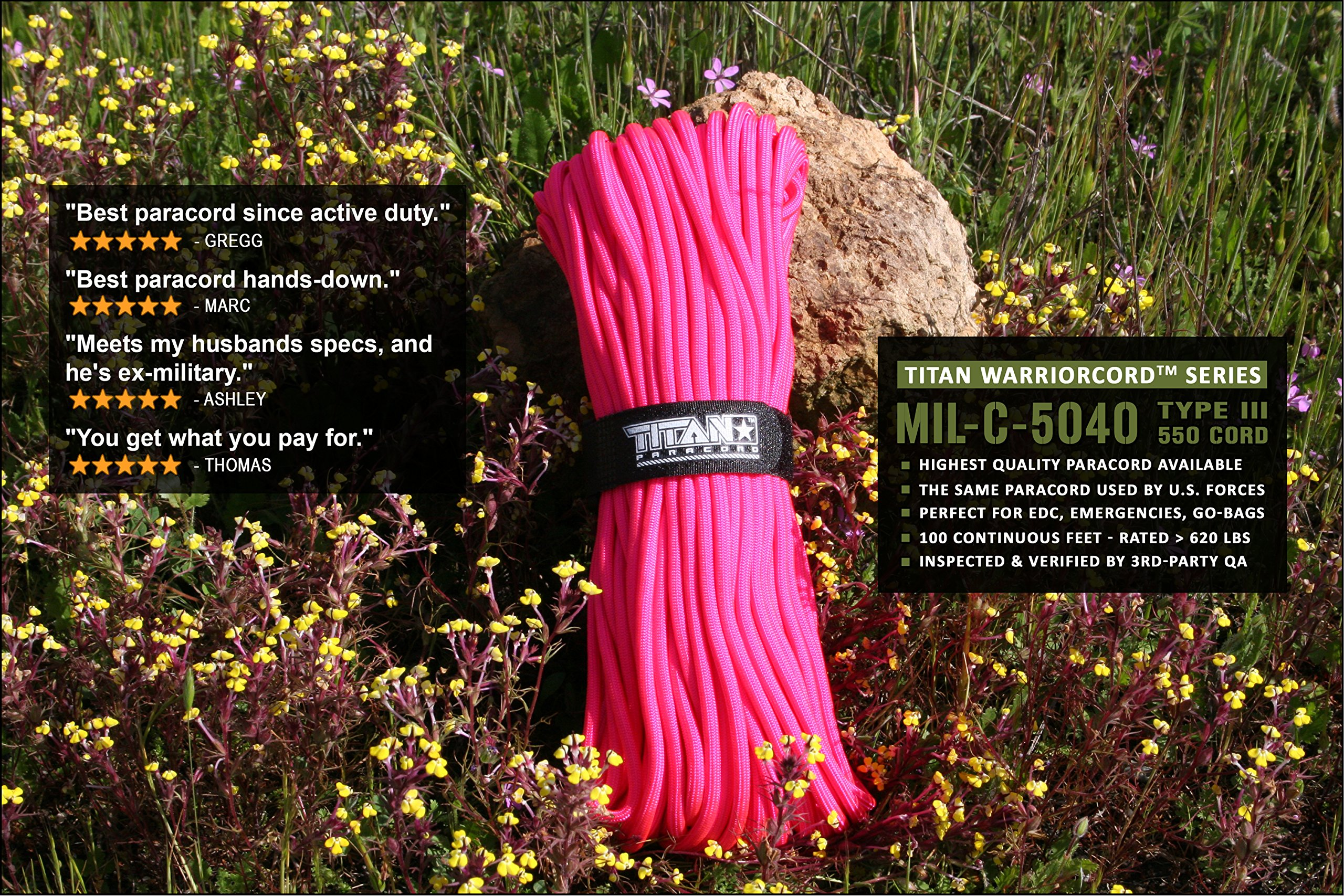 TITAN WarriorCord | PINK | 103 CONTINUOUS FEET | Exceeds Authentic MIL-C-5040, Type III 550 Paracord Standards. 7 Strand, 5/32'' (4mm) Diameter, Military Parachute Cord. by Titan Paracord (Image #3)