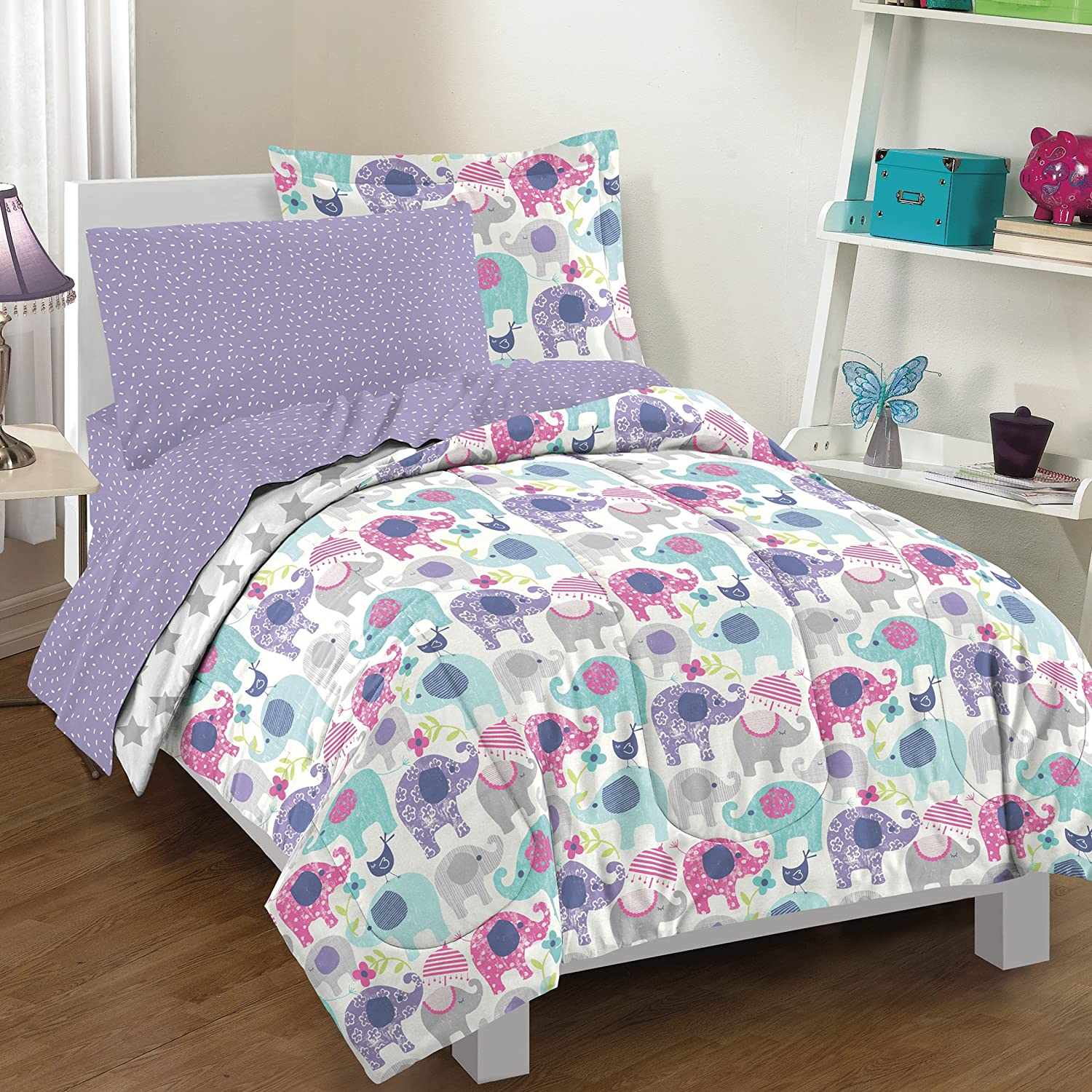 Amazon.com: Dream FACTORY 2A851701PP Elley Elephant Comforter Set, Twin,  Purple: Home U0026 Kitchen