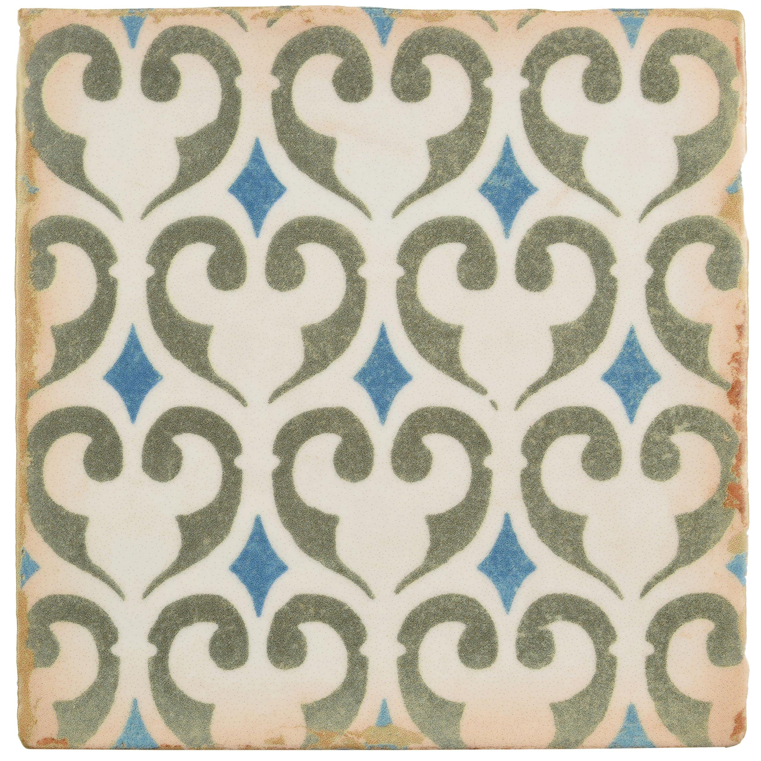 SomerTile FPEARCKZ Modele Ceramic Floor and Wall Tile, 4.875'' x 4.875'', Green/Blue/Cream/White/Brown