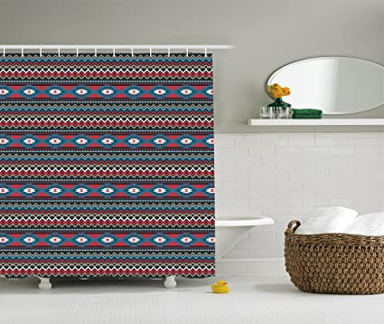 Ambesonne Native American Shower Curtain Primitive Style Aztec Folkloric Striped Design Antique Maya Patterns