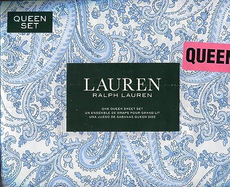 Amazon.com: Ralph Lauren Blue Paisley Sheet Set, Queen Size: Home ...