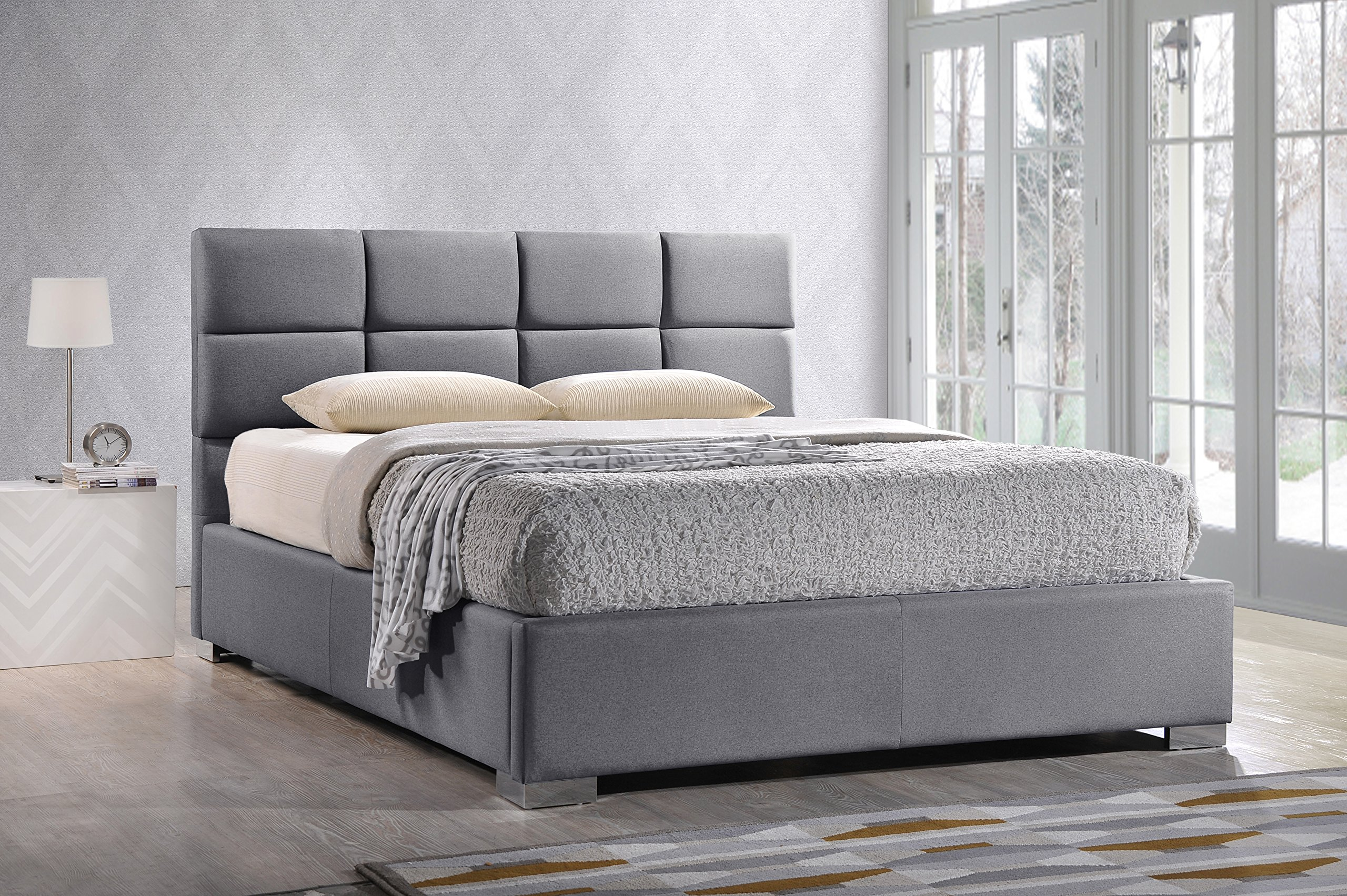 Baxton Studio Sophie Modern & Contemporary Fabric Upholstered Platform Bed, King, Grey by Baxton Studio