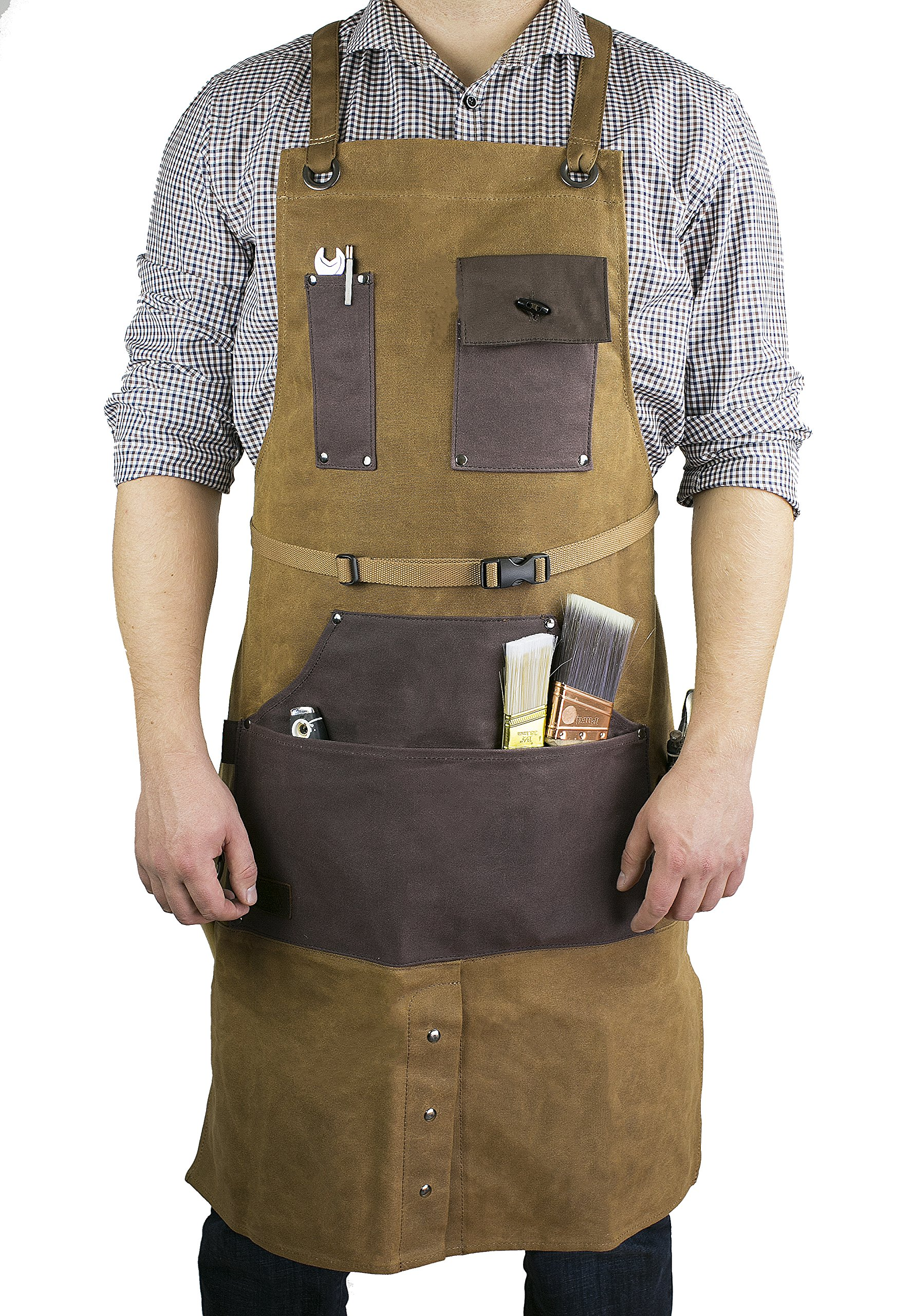 Apwax - Adjustable Heavy Duty Waxed Canvas Tool Apron for Men & Women – Ideal as Utility, Carpenter, Artisan, Craftsman, Gardening Tool Apron, etc. – Multiple Pockets – Comfortable Design
