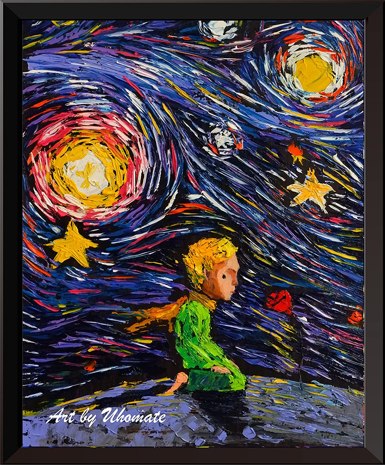 Uhomate The Little Prince Fox Le Petit Prince Little Prince Vincent Van Gogh Starry Night Posters Home Canvas Wall Art Nursery Decor Living Room Wall Decor A021 (13X19)