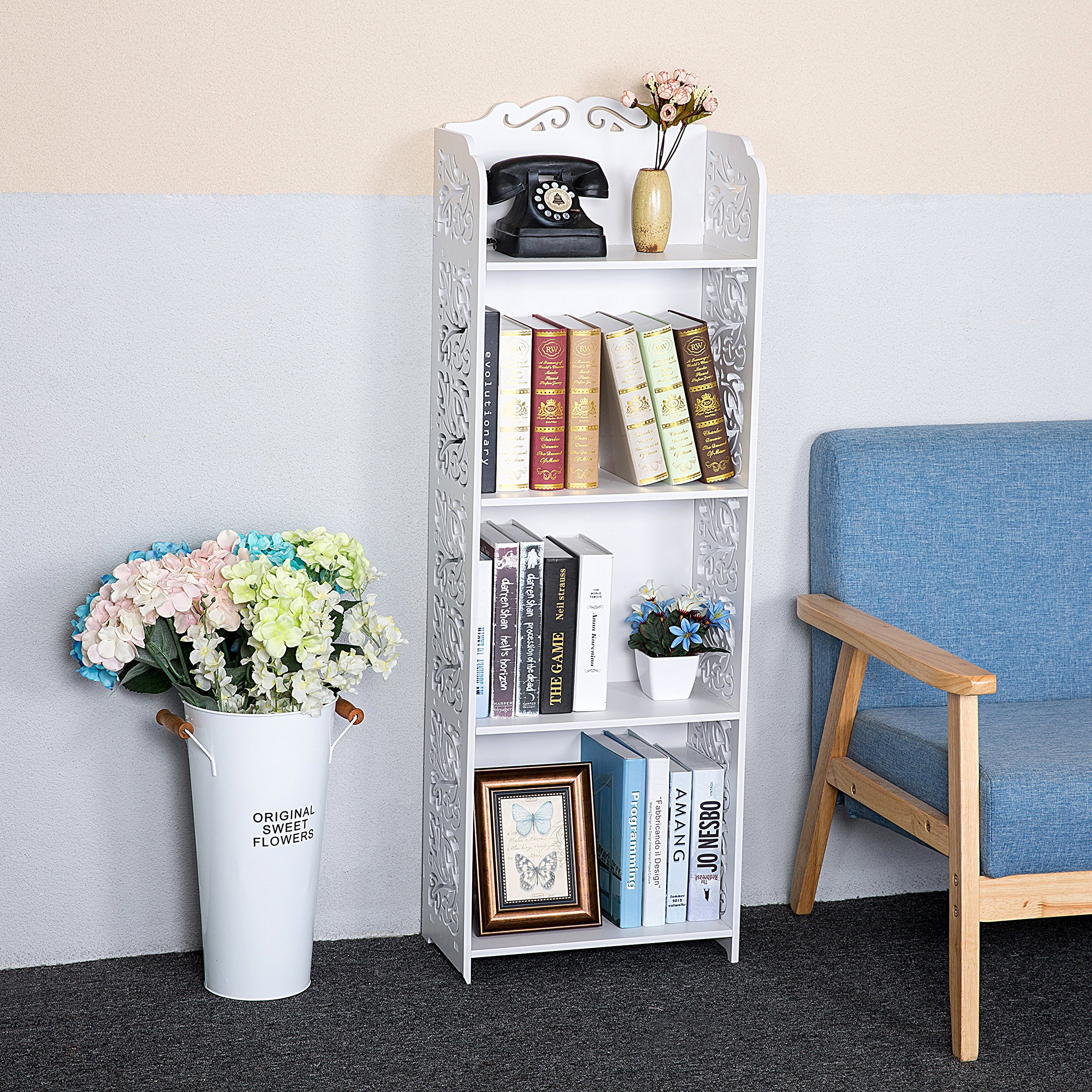 C&AHOME 4 Tier DIY Storage Rack Portable Bathroom Shelf Organizer Shoe Rack Bookcase, White