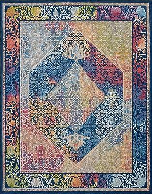 "Nourison GLB04 Global Vintage Blue Multicolor Boho Area Rug 7'10"" x 9'10"", X9'10, Multi Colored"