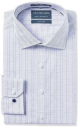 2a8ed431707 Van Heusen Men s Euro-Tailored Fit Check Business Shirt  Amazon.com ...