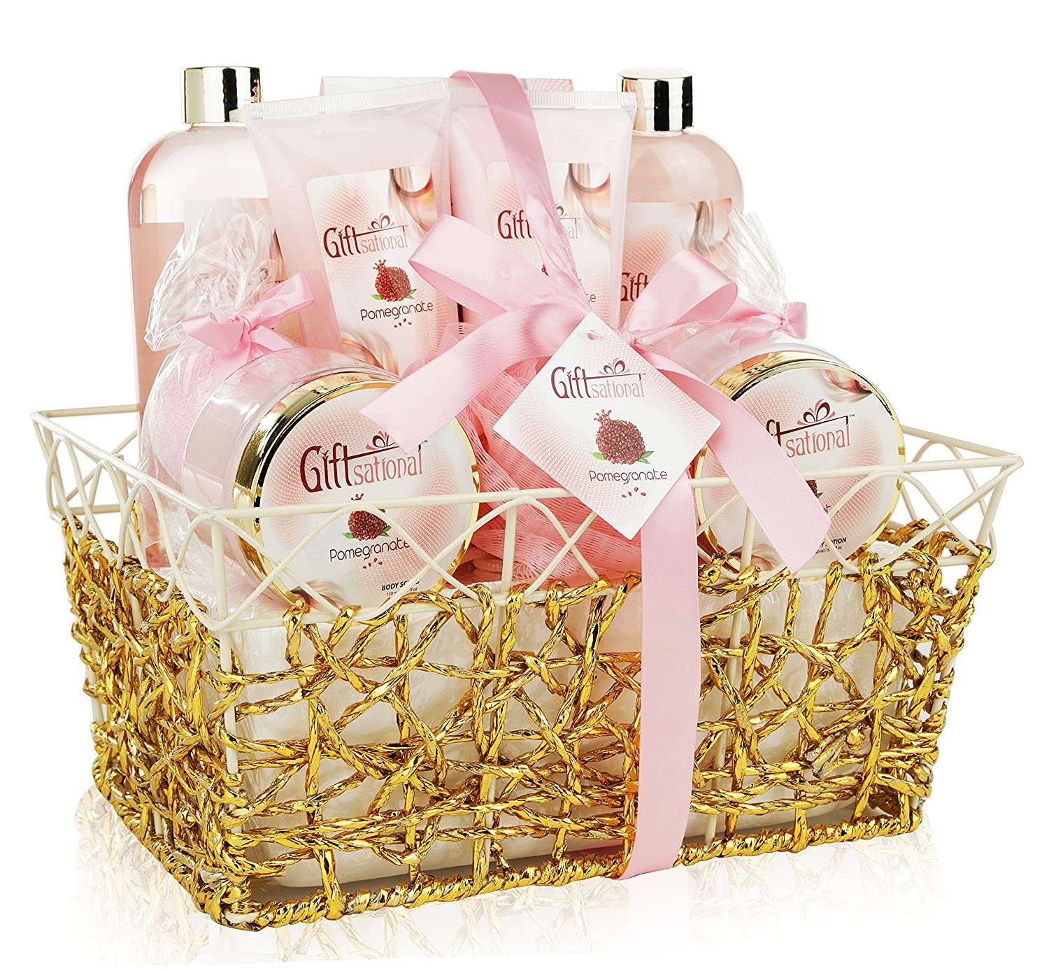 Spa Gift Basket - Refreshing Pomegranate Fragrance in Gold Gift Basket, Includes Shower Gel, Bubble Bath, Bath Bombs, Lotion and More! Great Wedding, Birthday, or Anniversary Gift Set for Women Giftsational