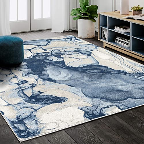 Abani Rugs Blue Beige Abstract Liquid Area Rug Contemporary Style
