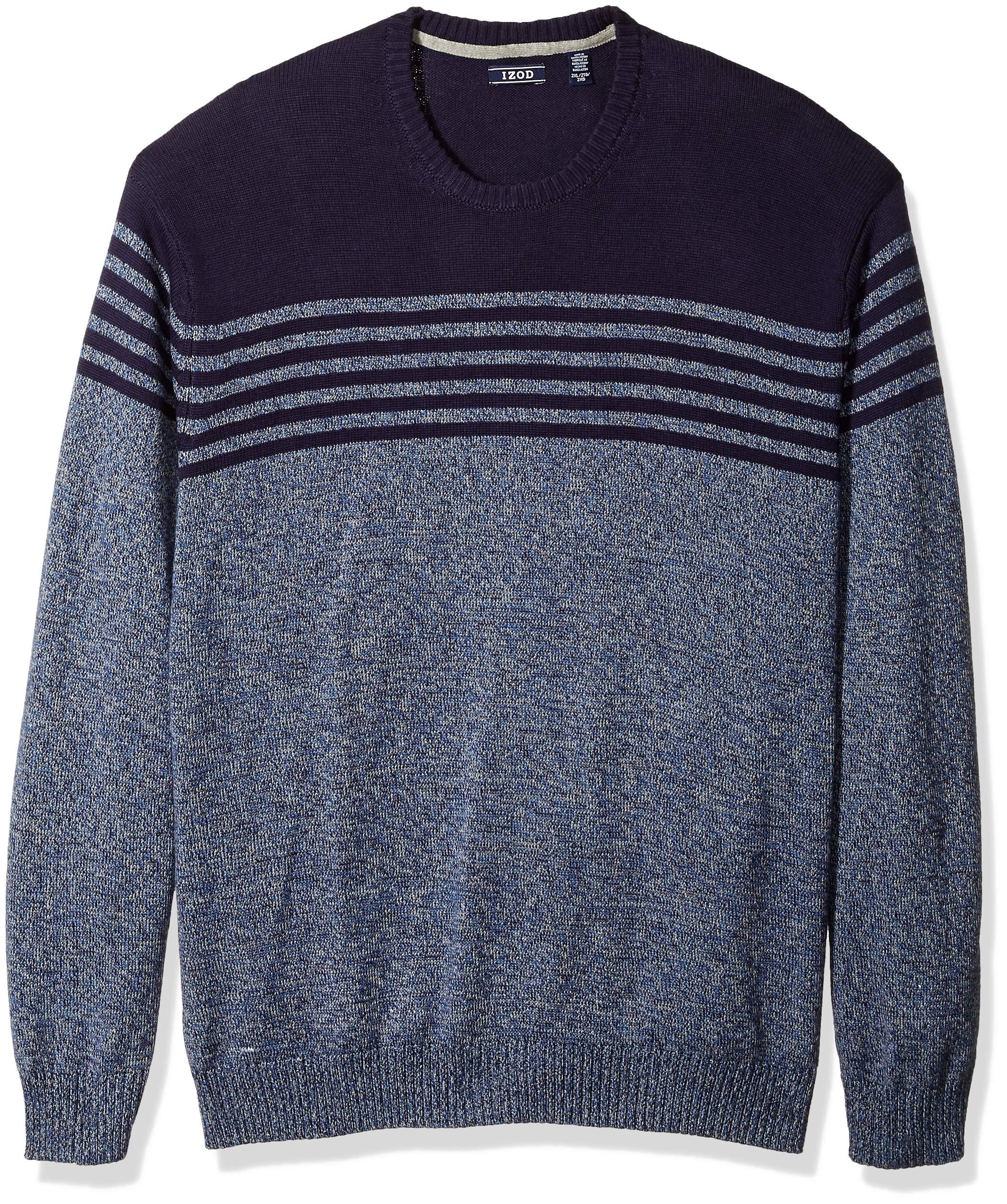 IZOD Men's Big and Tall Newport Stripe 7 Gauge Crewneck Sweater, Peacoat, 4X-Large