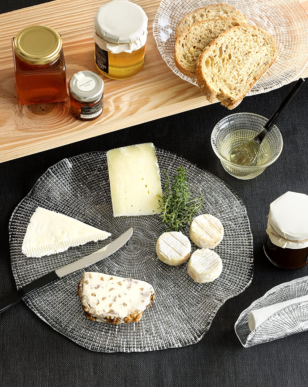 IVV Glassware Diamante Cheese Platter Clear 12-1/2-Inch Cheese ...