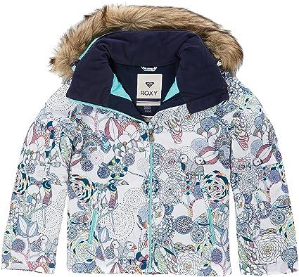 Roxy Jet Ski Girl Jk Chaqueta para Nieve, niñas, Blanco (Bright White Pattern_1