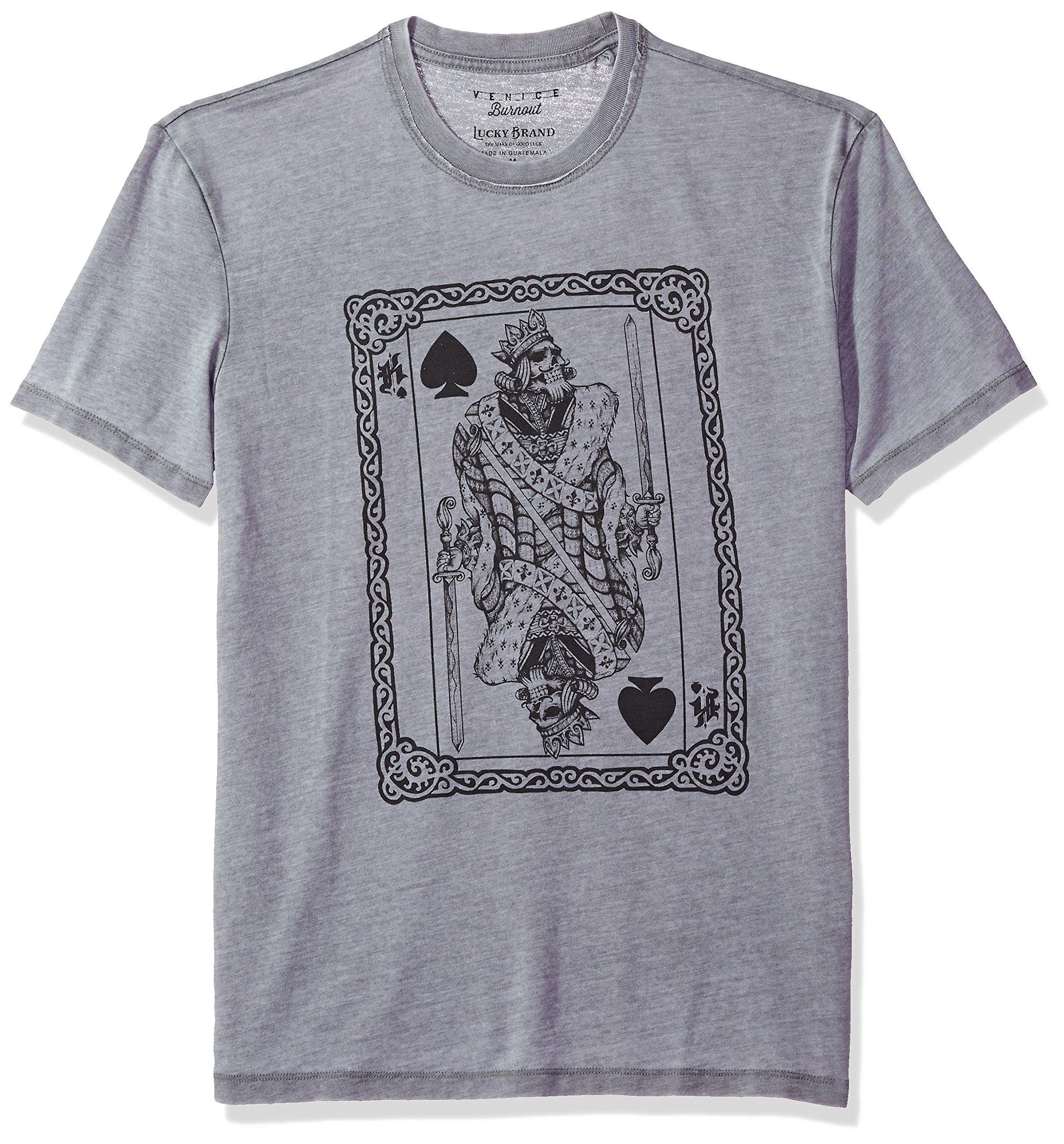 Lucky Brand Men's Poker King Graphic Tee, Gargoyle, L