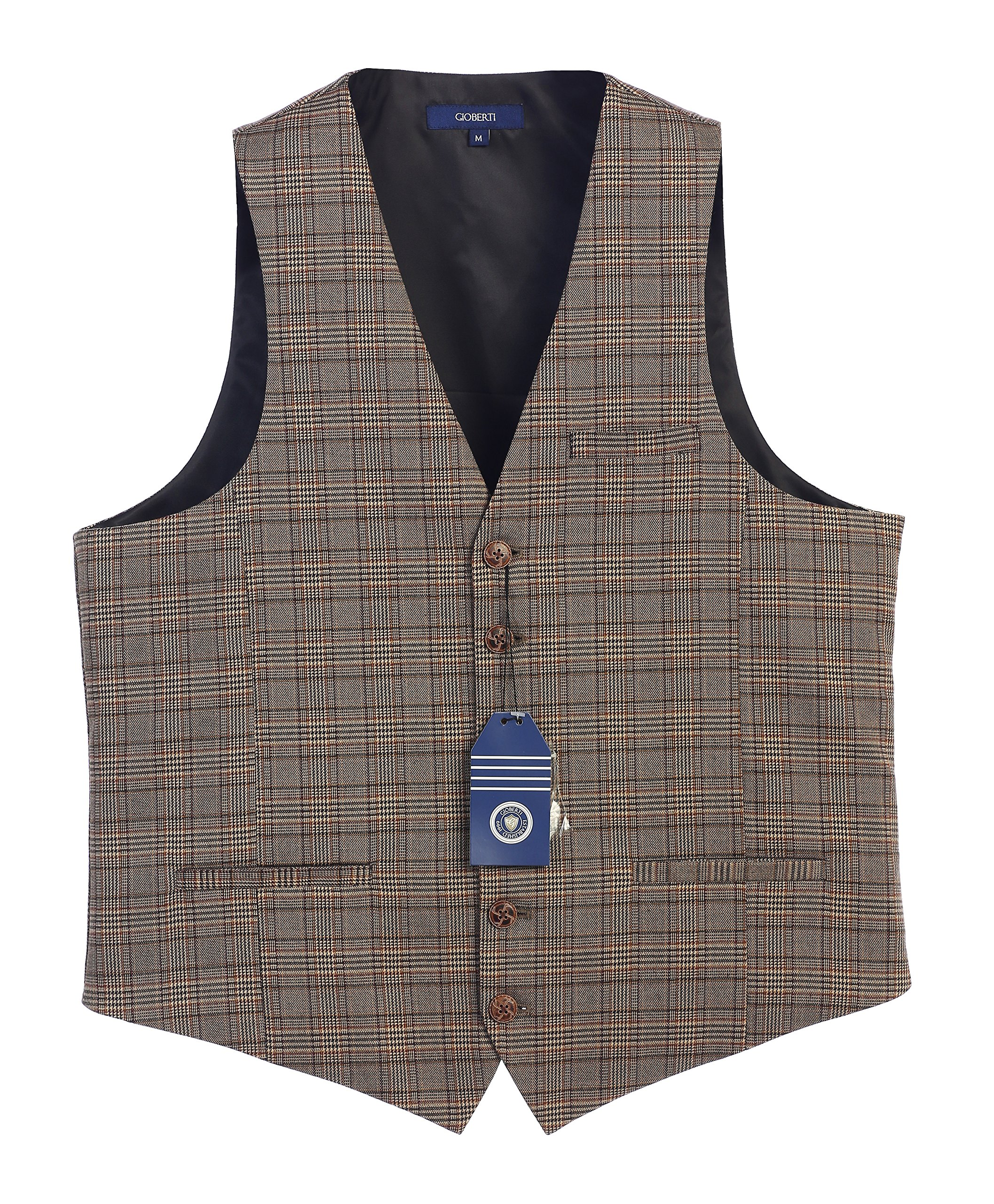Gioberti Men's 6 Button Custom Formal Tweed Vest, Checkered Brown, X Large