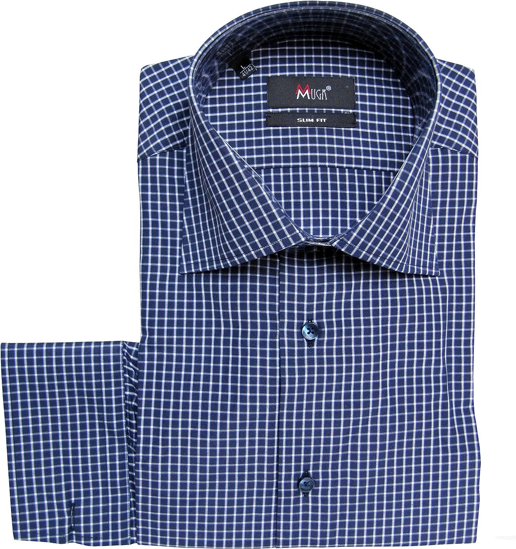 MUGA mmuga Señor Camisa Cuadros de Vichy, Slim-Fit/Entallado ...