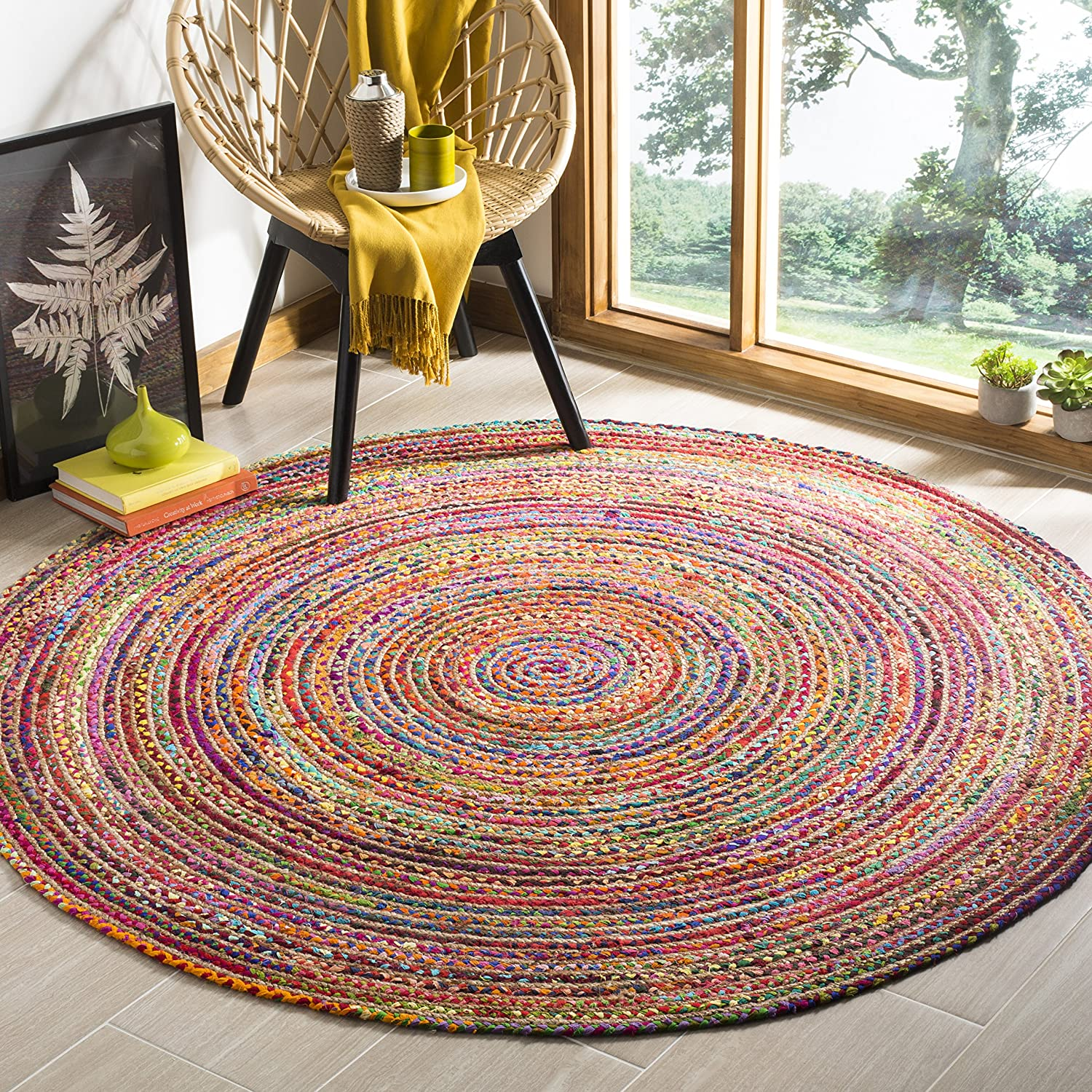Safavieh Cape Cod Collection CAP202A Handmade Red and Multicolored Jute Round Area Rug (5' in Diameter)