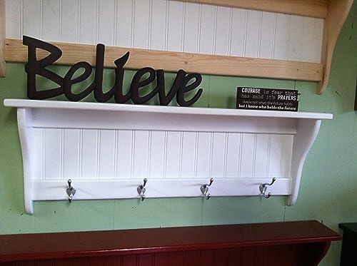 36 Inch White Coat Rack Shelf With Satin Chrome Hooks Wall Hanging Shelf