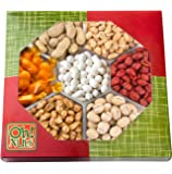 Fathers Day Nuts Gift Tray 7 Variety Assortment, Gourmet Food Gift, Beautiful Packaged Nuts in Gift Box, Awesome Flavored Peanuts Gift - Oh! Nuts (Flavored Nuts Assortment)