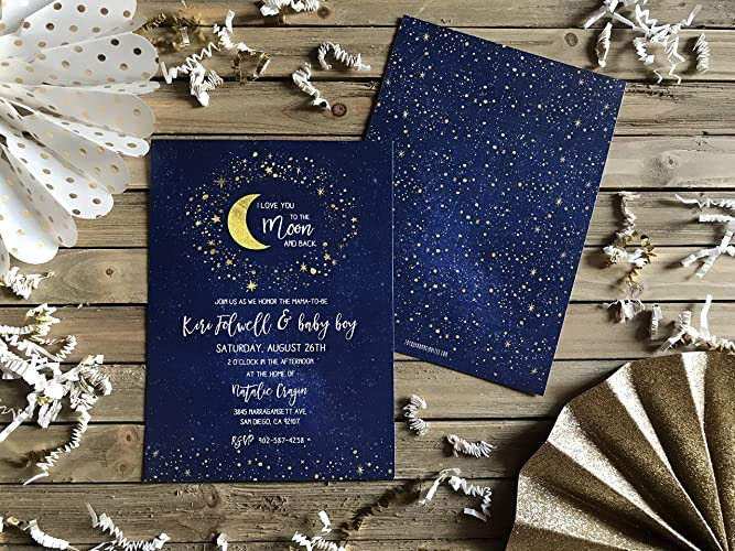 amazon com baby shower invite love you to the moon and back set