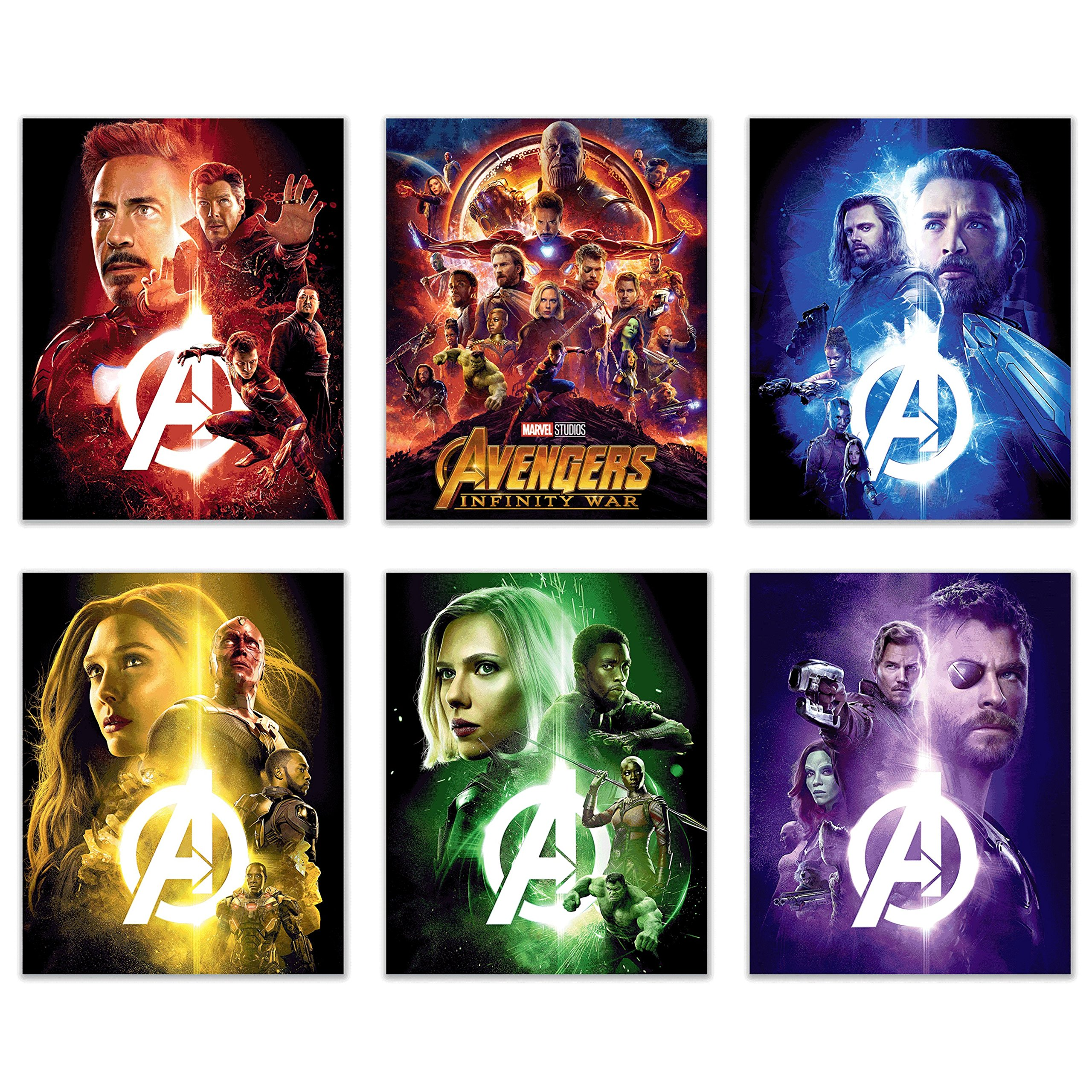 Avengers Infinity War Movie Poster Prints 8x10 - Set of Six Wall Art Photos - Black Panther - Iron Man - Captain America - Doctor Strange - Spiderman - Wong - Thor - Star Lord - Gamora - by Crystal
