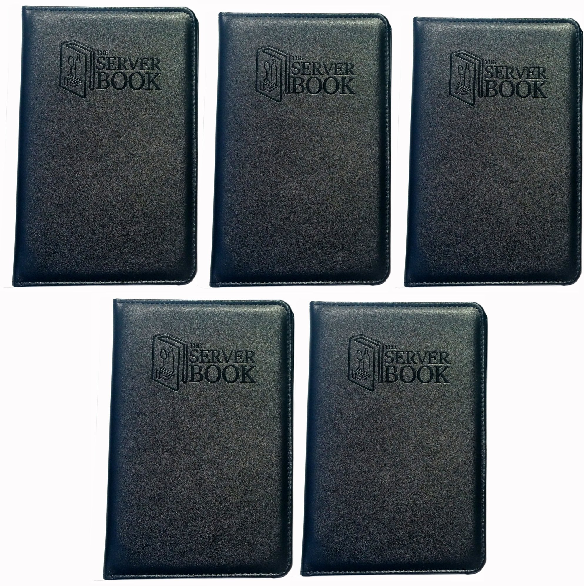 5 Server Books with Zipper Pocket - Black Waitress/Waiter Book with Money Pocket For Every Apron - Food Service Equipment & Supplies - Menu & Guest Check Disiplayers-5.2 x 8 inches (5)