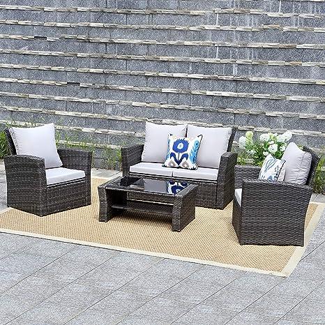 Wisteria Lane 5 pcs al aire libre muebles de jardín de ratán ...