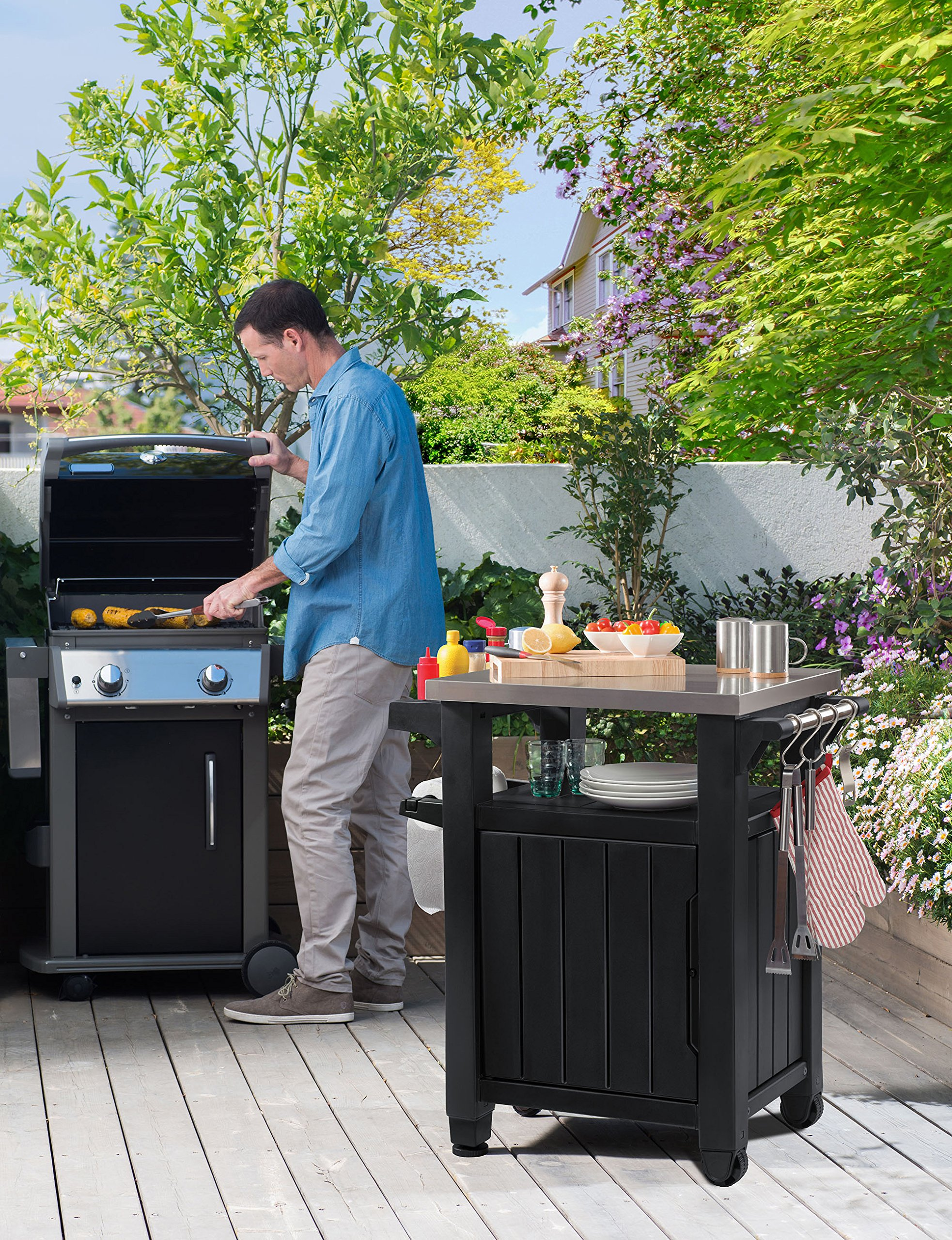 Keter Unity Indoor Outdoor BBQ Entertainment Storage Table / Prep Station  With Metal Top   228833 U003c Furniture U003c Home U0026 Kitchen   TIBS