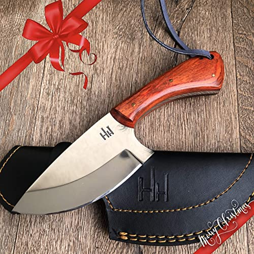 Hobby Hut HH-307 Custom Handmade Hunting Knife with Sheath 420 Stainless Steel Fixed Blade, Micarta Handle Leather Sheath Designed for Skinning Camping