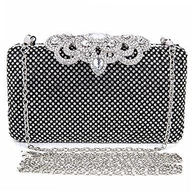 25fb466f32 2017 Fashion Crystal Bag Clutch Purse Luxury Rhinestone Evening Bag Jewelry  Handbag (Black)