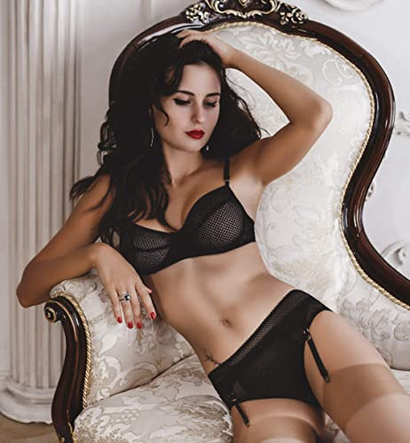 0d97224ce8c Amazon.com  Black mesh erotic lingerie set with stoking belt ⇼ transparent  mesh bra