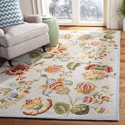 Safavieh Chelsea Collection HK331D Hand-Hooked Light Blue Premium Wool Area Rug 7 9 x 9 9