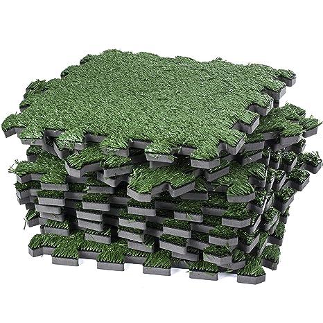 Amazoncom Dooboe Interlocking Artificial Grass Tile Artificial