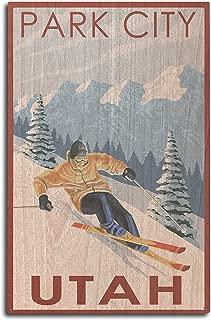product image for Lantern Press Park City, Utah - Downhill Skier (10x15 Wood Wall Sign, Wall Decor Ready to Hang)