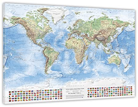 Physical world map size 120x80 cm canvas print english updated physical world map size 120x80 cm canvas print english updated 2016 gumiabroncs Image collections