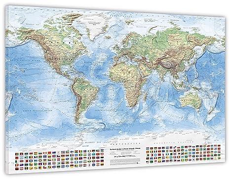 150 x 100 cm J.Bauer Karten Politische Weltkarte auf Leinwand und Keilrahmen Stand 2018