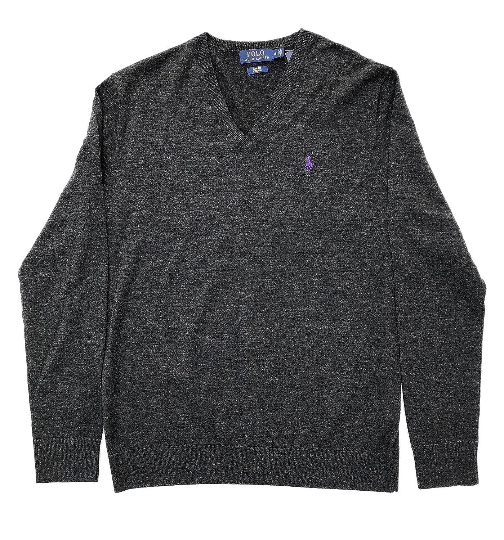 6d62ebac Polo Ralph Lauren Men's Slim Fit Stretch Wool V-Neck Sweater, Dark ...