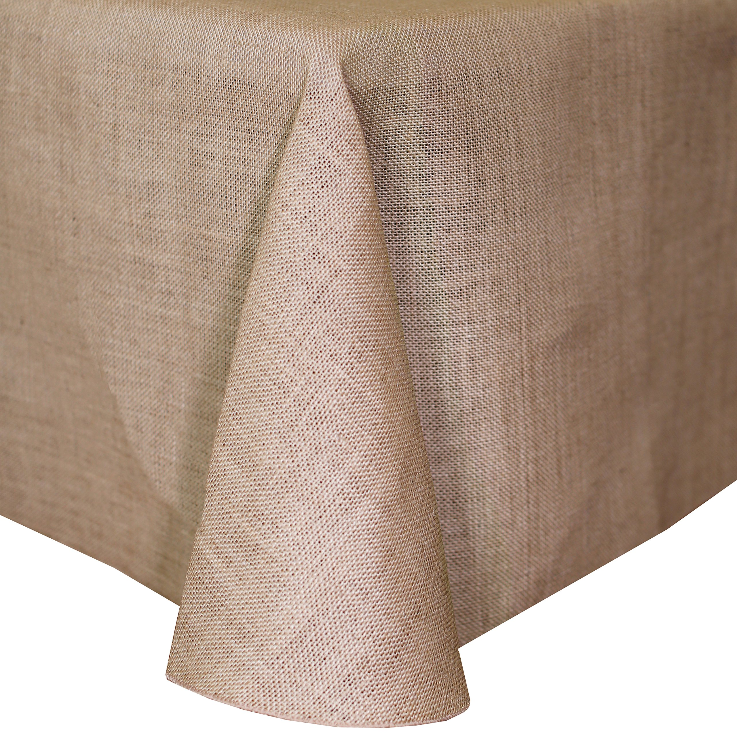 Ultimate Textile (3 Pack) Burlap 108 x 156-Inch Rectangle Jute Tablecloth with Rounded Corners Natural