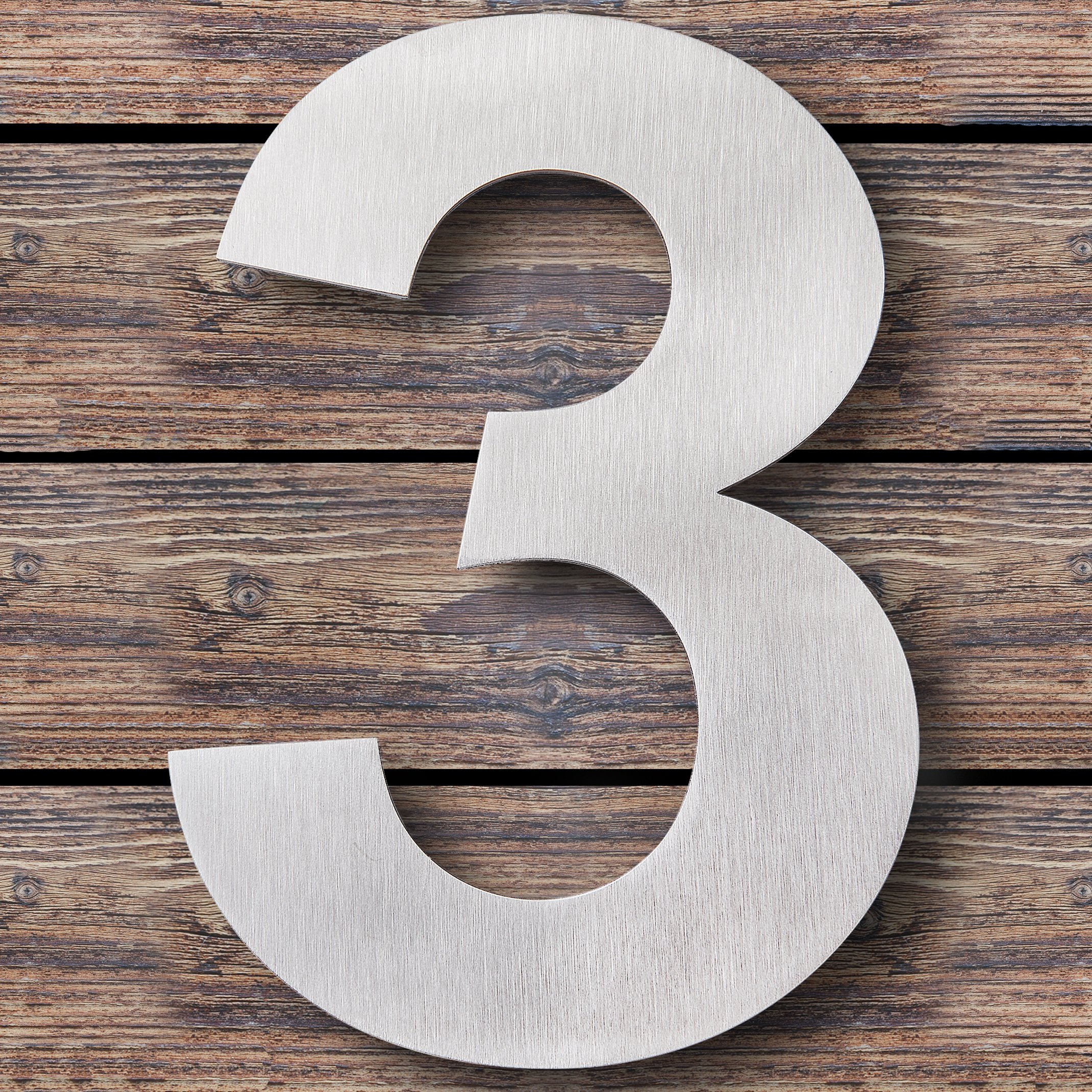 Royal H&H Large Modern House Numbers 6 inch (Number 3 Three) Floating Home Address Numerals Sign Plaque Heavy Duty Mount for Home Hotel Office Brushed Nickel Solid Stainless Steel