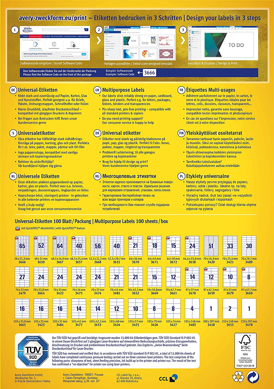 AVERY Zweckform 3423 3423 3423 Universal-Etiketten (A4, Papier matt, 1,600 Etiketten, 105 x 35 mm, 100 Blatt) weiß B000122B7W Adressaufkleber Stimmt dad1ce