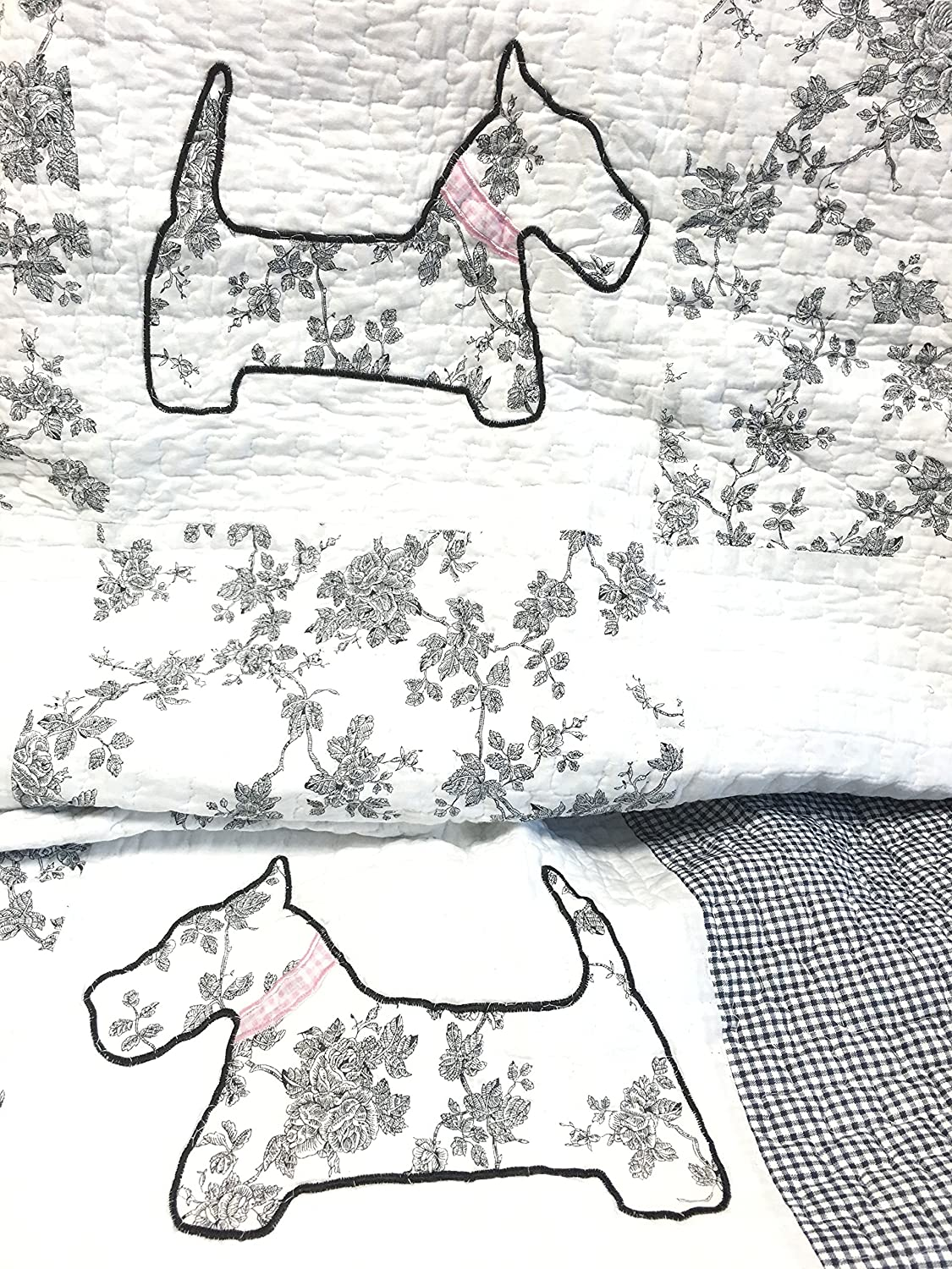 Amazon Com Cozy Line Home Fashions Scottie Pup Pink White Grey Dog Flower Pattern Printed Patchwork Cotton Bedding Quilt Set Coverlet Bedspreads Grey White Queen 3 Piece 1 Quilt 2 Standard