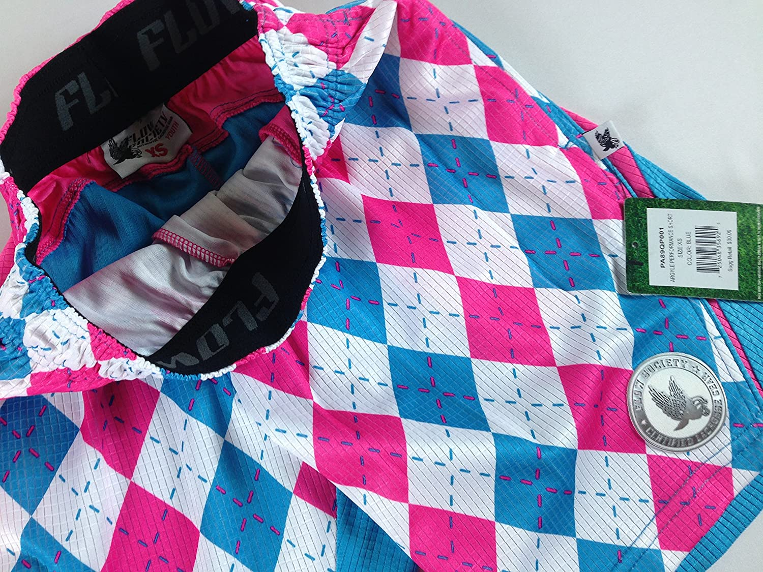 Flow Society Shorts Pink Blue Argyle Youth Lacrosse Kids Boys Girls Cotton Candy
