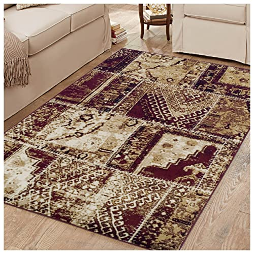 Superior 8mm Pile Height with Jute Backing, Vintage Patchwork Persian Rug Design, Fashionable and Affordable Woven Rugs, 5 x 8 Rug, Red Black