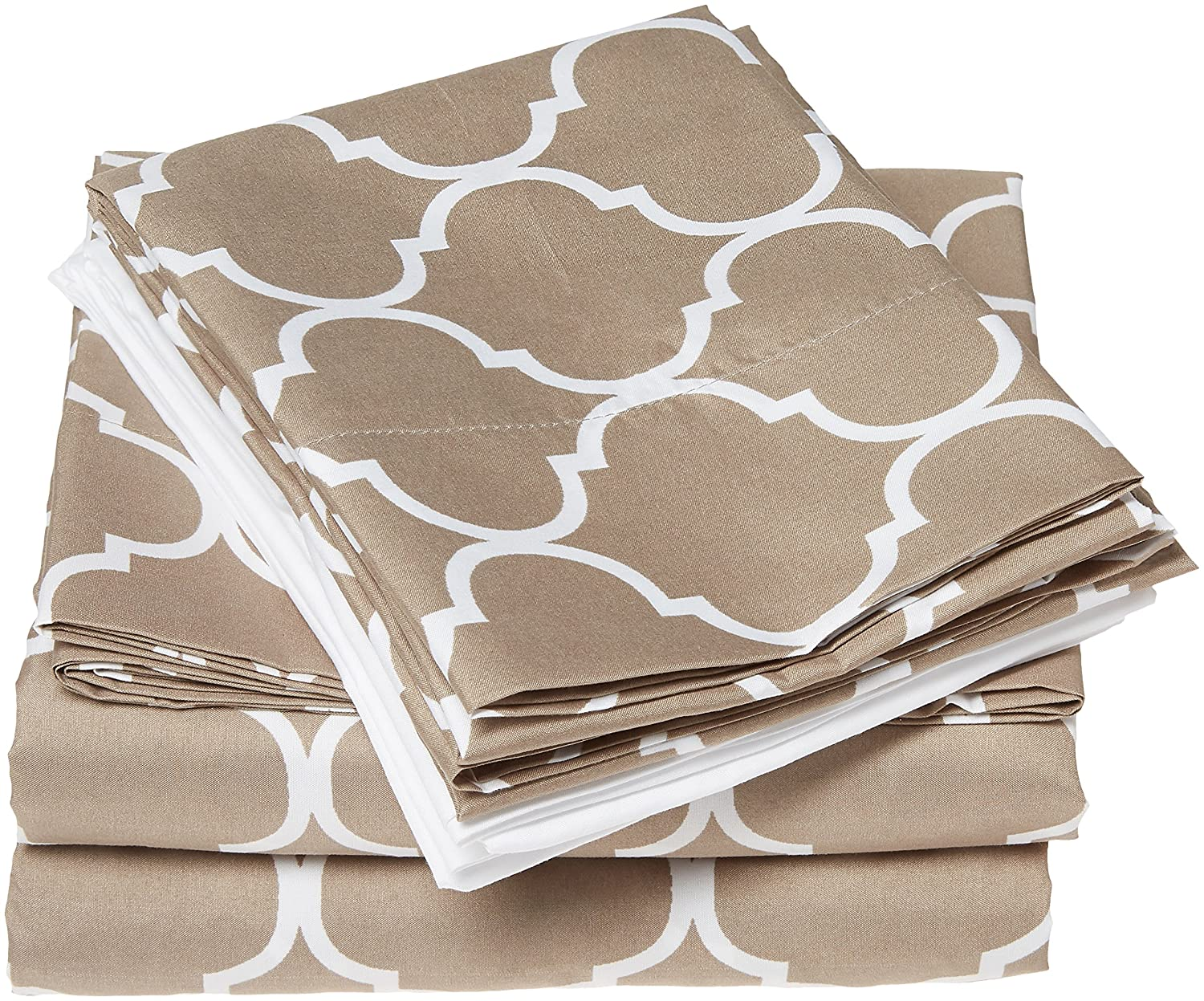 Includes Flat /& Fitted Sheets and Bonus Pillowcases Twin Taupe Unknown SS0489-0533-AN Chic Home Illusion 8 Piece Sheet Set Super Soft Contemporary Geometric Pattern Print Deep Pocket Design