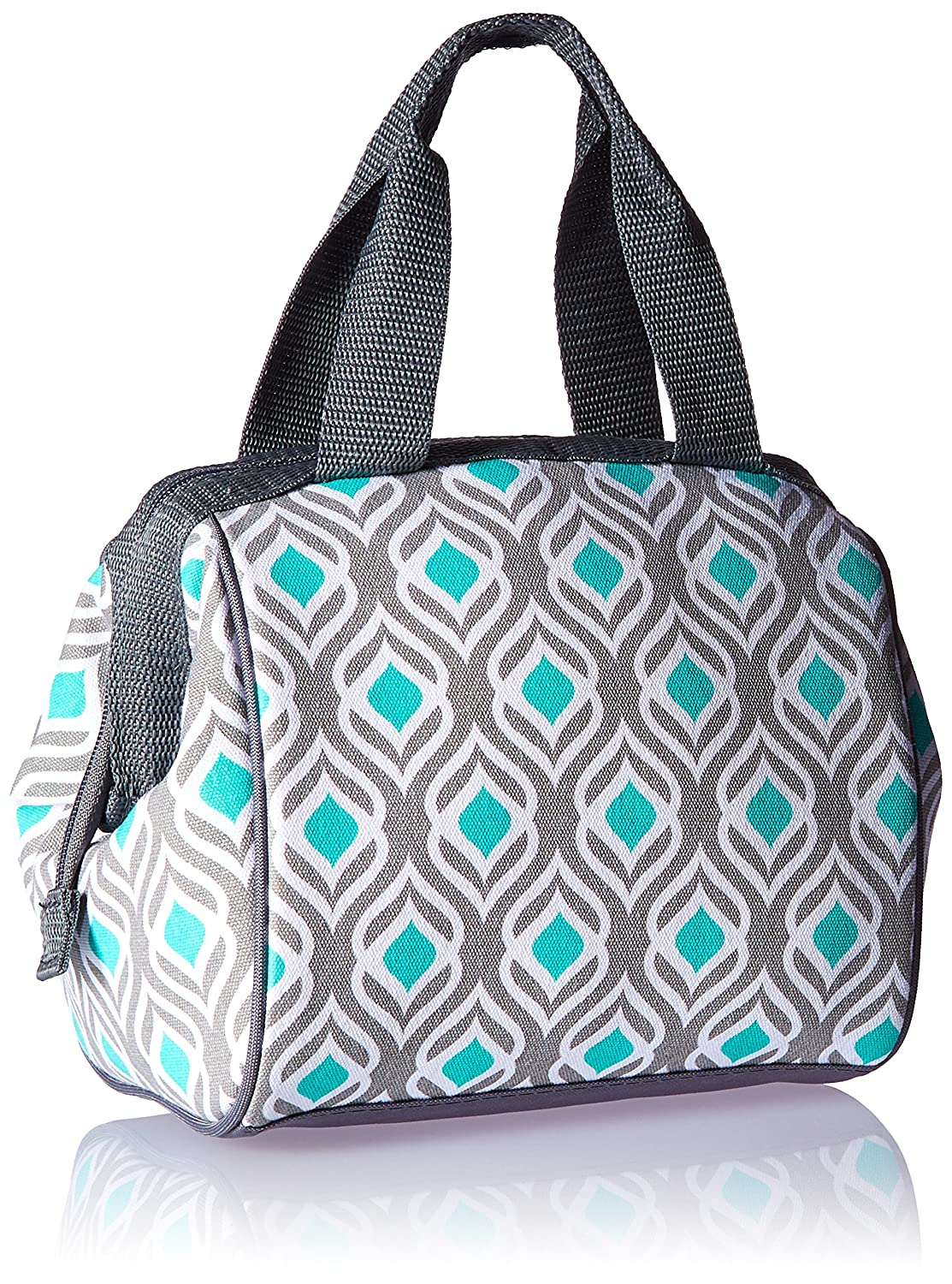 Fit & Fresh Charlotte Insulated Lunch Bag for Women / Girls with Ice Pack, Ideal for Work / School, Zips Closed, Pink Aqua Dot Tile Fit and Fresh 902FF804