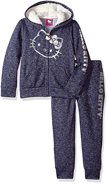 b3ac54ed9 Amazon.com  Hello Kitty Girls  Big 2 Piece Hooded Fleece Active Set ...