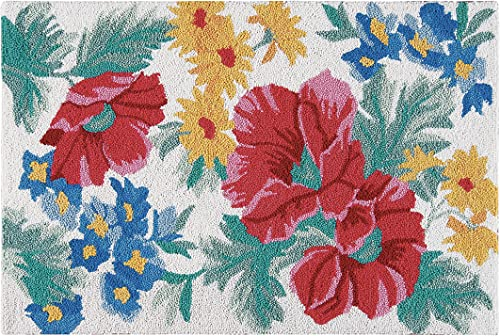 C F Home Madeline Blue and Red Floral Botanical Garden Spring Summer Wool Handcrafted Premium Hooked Indoor Area Rug 2'x3' Green