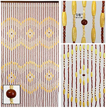 BeadedString Wood Beaded Curtain 31 Strands 72quot High Natural Door