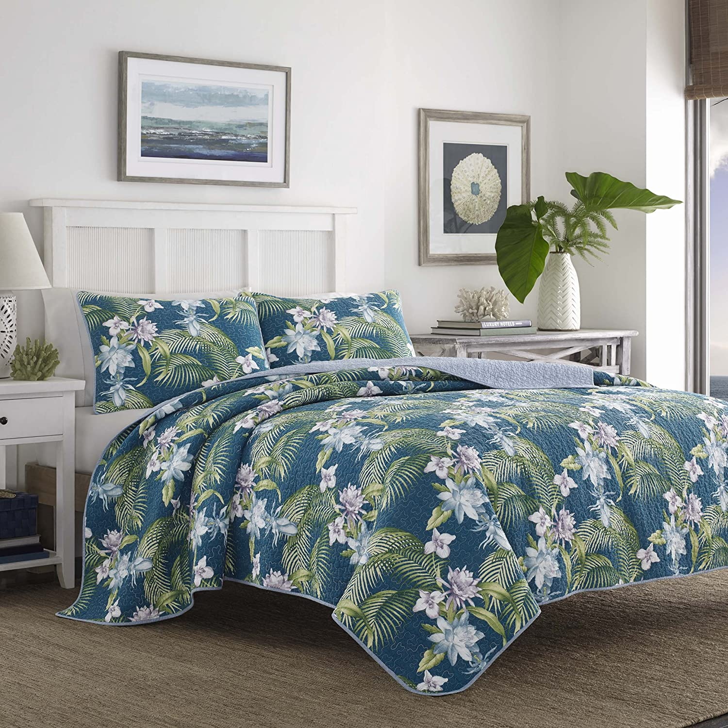 Tommy Bahama Southern Breeze Quilt Set, Full/Queen, Dark Blue