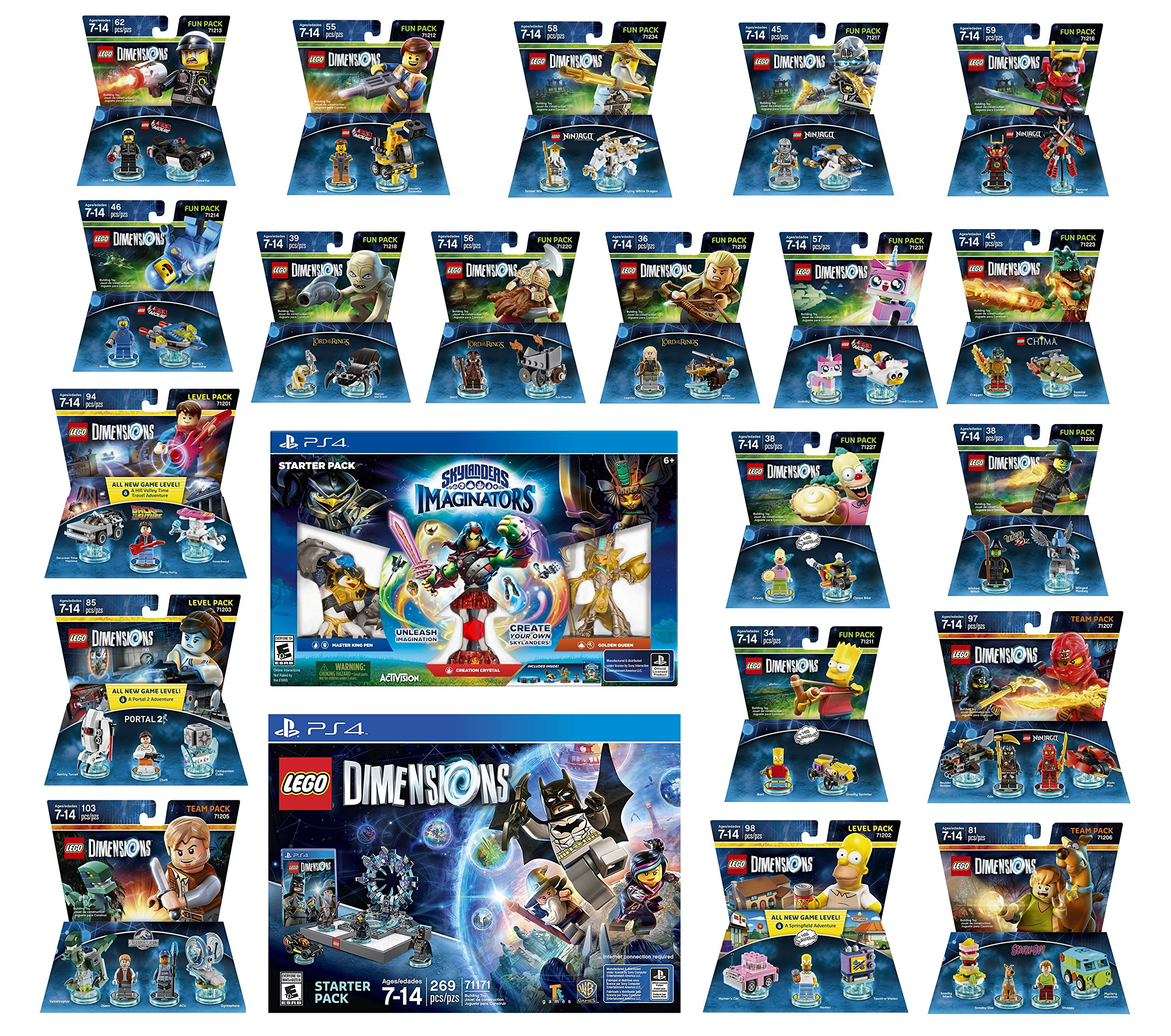 Skylanders Imaginators Starter Pack + Lego Dimensions Starter Pack + The Simpsons Homer + Scooby Doo + Portal 2 + Jurassic World + Back To The Future + 14 Fun Packs Playstation 4 or PS4 Pro Console
